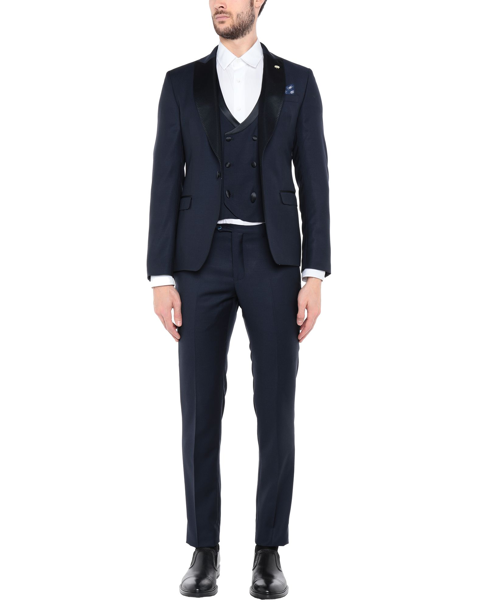 《送料無料》MANUEL RITZ メンズ スーツ ダークブルー 48 バージンウール 100%