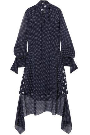 ROKH Polka-dot pussy-bow georgette midi dress