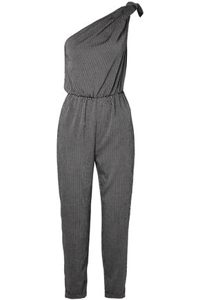 NANUSHKA Nyla one-shoulder cropped striped woven jumpsuit