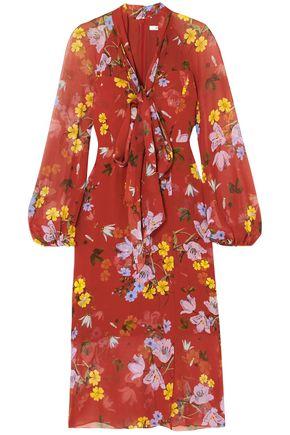 ERDEM Tamaryn pussy-bow floral-print silk-chiffon midi dress