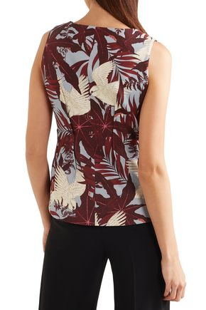 ERDEM Azure bow-detailed printed cotton-canvas top