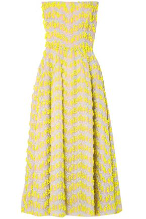 CAROLINA HERRERA Strapless embroidered organza midi dress