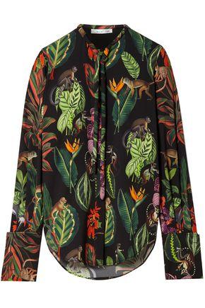 OSCAR DE LA RENTA Pussy-bow printed silk-blend blouse