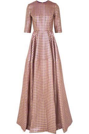 REEM ACRA Metallic jacquard gown