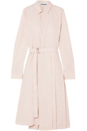 JIL SANDER Asymmetric pleated cotton-poplin shirt dress