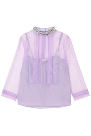MARC JACOBS Embellished pintucked crinkled-organza top