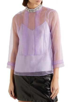 MARC JACOBS Crystal-embellished pintucked crinkled-organza top