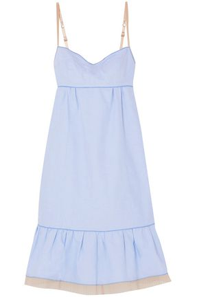 MARC JACOBS Pleated tulle-trimmed cotton Oxford slip dress
