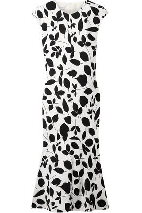 NARCISO RODRIGUEZ Fluted printed silk-blend dress