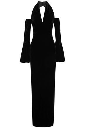 TOM FORD Cold-shoulder velvet halterneck gown