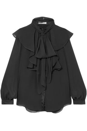 CHLOÉ Ruffled satin-trimmed georgette blouse