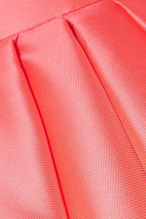 REEM ACRA Strapless lamé-trimmed satin-jacquard gown