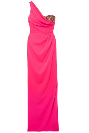 MARCHESA NOTTE ワンショルダー 装飾付き チュールトリム クレープ ロングドレス