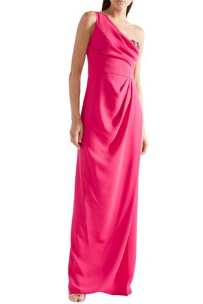 MARCHESA NOTTE One-shoulder embellished tulle-trimmed crepe gown