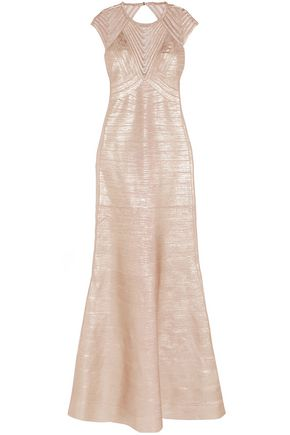 HERVÉ LÉGER Trinity embroidered tulle-paneled metallic bandage gown