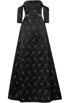 ERDEM Cecelia off-the-shoulder embellished duchesse-satin gown