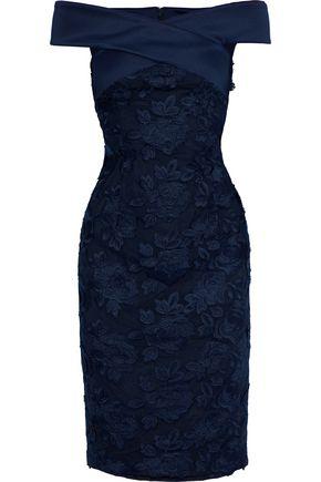 BLACK HALO Leone off-the-shoulder satin-trimmed embroidered tulle dress
