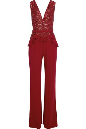 Zuhair Murad WOMAN EMBELLISHED RUFFLED TULLE-PANELED SILK-BLEND CREPE JUMPSUIT RED
