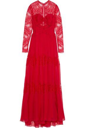 ZUHAIR MURAD Chantilly lace-paneled plissé silk-blend chiffon gown