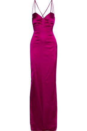 BLACK HALO EVE by LAUREL BERMAN Behati open-back stretch-satin gown