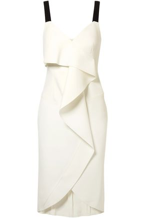 JASON WU Ruffled grosgrain-trimmed stretch-crepe dress