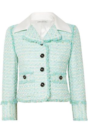 ALESSANDRA RICH Twill-trimmed embellished tweed jacket