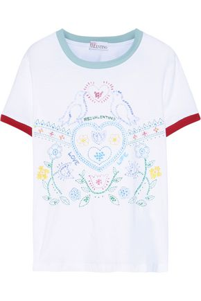 REDValentino Printed cotton-jersey T-shirt