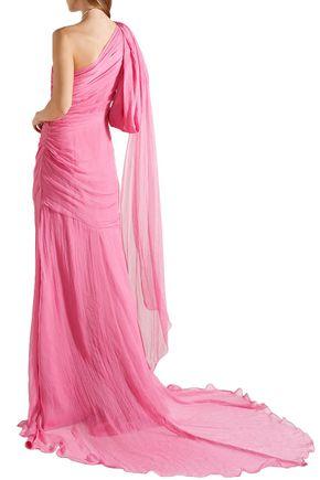 OSCAR DE LA RENTA One-shoulder crinkled silk-chiffon gown