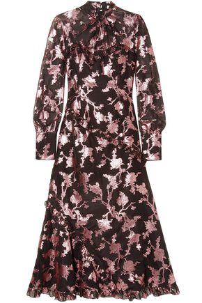 ERDEM Faylinn twist-front fil coupé cotton-blend organza midi dress