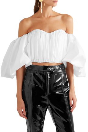 ELLERY Bachelorette cropped off-the-shoulder cotton-poplin top