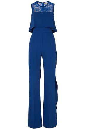 ELIE SAAB Ruffled lace-paneled stretch-crepe jumpsuit