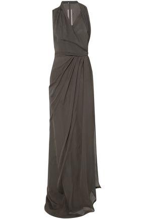 RICK OWENS Wrap-effect silk-chiffon halterneck maxi dress