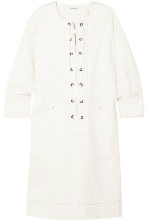 TOMAS MAIER Lace-up cotton-blend twill dress