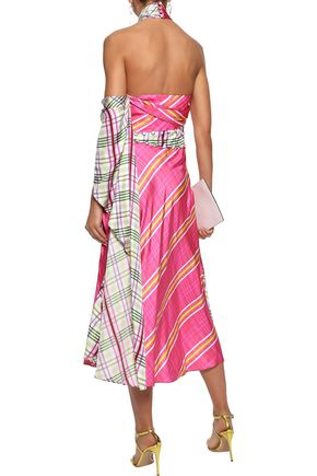 PRABAL GURUNG Draped checked silk-faille halterneck midi dress