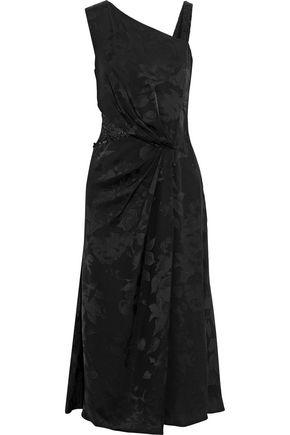 PRABAL GURUNG Lace-paneled bead-embellished jacquard midi dress
