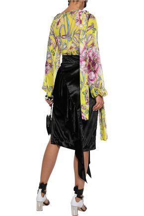 PRABAL GURUNG Stevie knotted floral-print silk-chiffon blouse