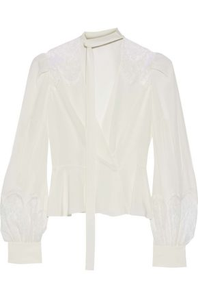 ZUHAIR MURAD Chantilly lace-trimmed silk crepe de chine wrap blouse