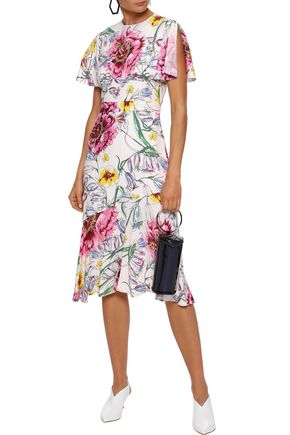 PRABAL GURUNG Victoria button-detailed floral-print silk crepe de chine skirt