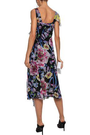 PRABAL GURUNG Rana ruffled floral-print silk crepe de chine midi dress