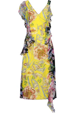 PRABAL GURUNG Rana ruffled floral-print silk crepe de chine midi dress