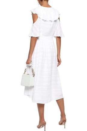 PRABAL GURUNG Cold-shoulder ruffled embroidered gauze midi dress