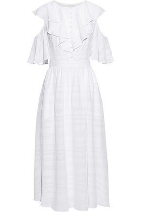 PRABAL GURUNG Cold-shoulder ruffled embroidered gauze midi dress