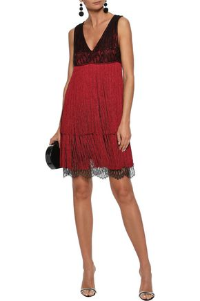 PRABAL GURUNG Fringed silk-lace mini dress
