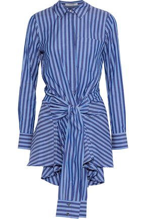 DEREK LAM 10 CROSBY Tie-front striped cotton-poplin mini dress