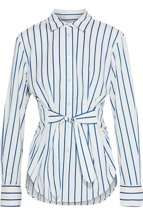 DEREK LAM Tie-front striped cotton-poplin shirt