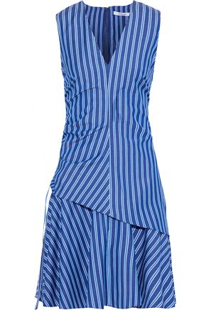 DEREK LAM 10 CROSBY Layered ruched striped cotton-poplin dress