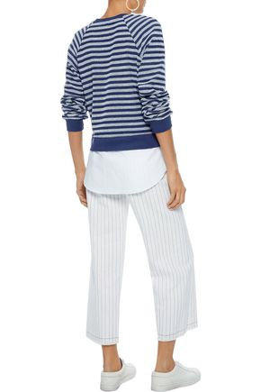 DEREK LAM Poplin-paneled striped terry sweatshirt