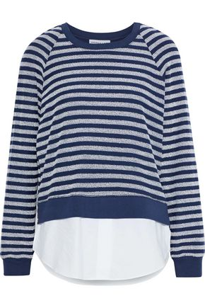 DEREK LAM Poplin-paneled striped terry sweatshirt