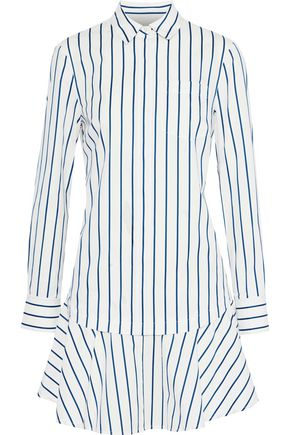 DEREK LAM Layered striped cotton-poplin mini dress