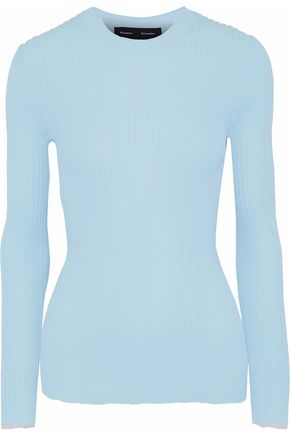 PROENZA SCHOULER Tulle-trimmed ribbed-knit sweater